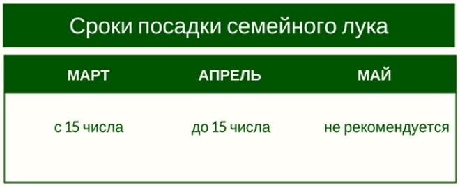 Таблица сроков посадки лука